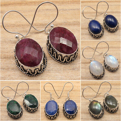 925 Silver Overlay Red Ruby, Emerald, Moonstone & More Gems Variation Earrings