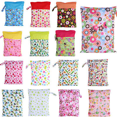 16 Patterns Baby Nappy Washable Wet Adult Cloth Zip Diaper Sanitary Swimmer Bag