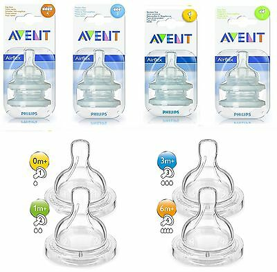 2 x Philips Avent Classic+ Teats For Baby Milk Bottle Teat Slow Medium Fast Flow