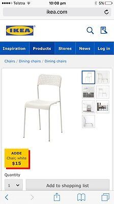 IKEA white Dining Chairs X 8