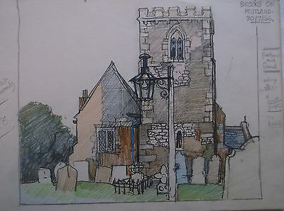 COLOURED GRAPHITE DRAWING by FREDERICK GEORGE WILLS 1901-1993 R.I. RUTLAND