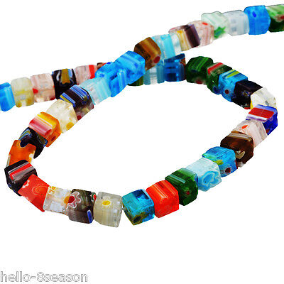 5PC Mixed Millefiori Glass Lampwork Spacer Beads Cube 0.6x0.6cm