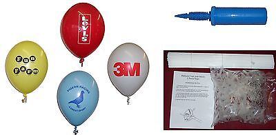 100 Promotional Custom Printed Balloons Package includes Sticks + Pump
