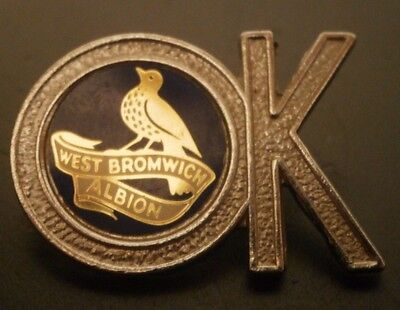 West Bromwich Albion Silver Coloured Ok Shaped Insert Football Brooch Pin Badge