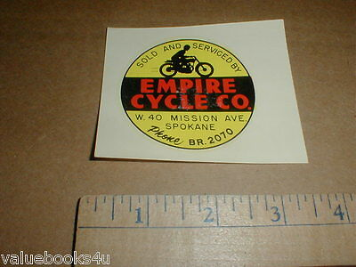 vintage Motorcycle cycle dealer racing water slide decal Spokane Wa Wash 1950s
