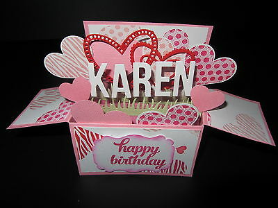 Handmade  3D Mother's Day/ Birthday Card in a box -Linked Hearts, PERSONALISED