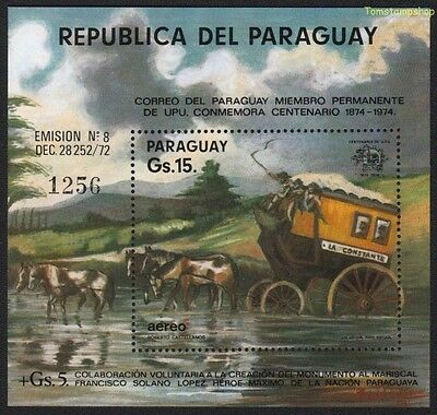 Paraguay 1974 UPU Coach Horses Post Mail Carriage River m/s MNH