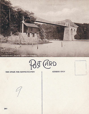 1930's THE SUSPENSION BRIDGE FROM ANGELSEY WALES UNUSED POSTCARD