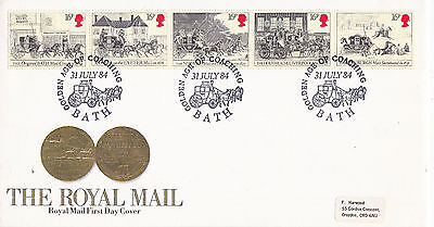 31 July 1984 Royal Mail Coaches Rm First Day Cover Golden Age Of Coaching Bath