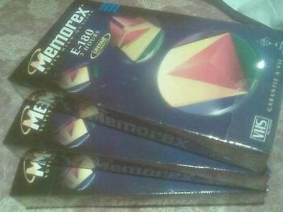 3 Memorex VHS tapes 180 minutes brand new