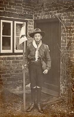 Early Cub Boy Scout Early 1900's With Flag Scouts Cubs Scouting RP Postcard g1