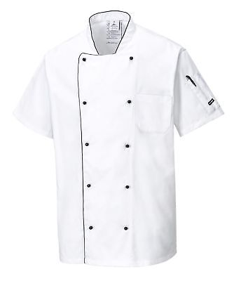 PORTWEST C676 white aerated cotton rich anti-crease chefs jacket size XS-3XL