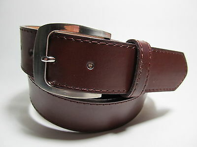 "Men new Brown leather belt with Silver Buckle M 34 - 36"" #2021"