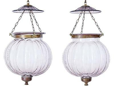Pair Of Early 20Th Century French Glass Hanging Lanterns