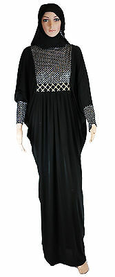 Black butterfly abaya with long sleeves