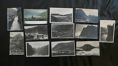 Vintage Postcards x 12 PPC, Real Photos, Norway Norge, Fjords Mountains 1920s