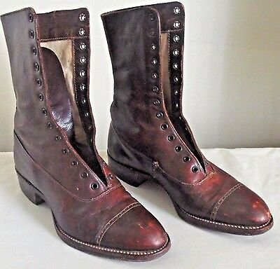 Vintage Chums Victorian Girls Brown Leather Lace Up Granny Boots Shoes Small