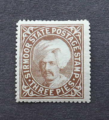 India Sirmoor state 1885, 3 Pies Brown mounted mint