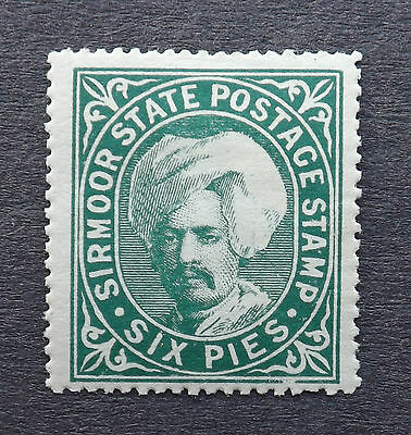 India Sirmoor state 1885, 6 Pies Green mounted mint