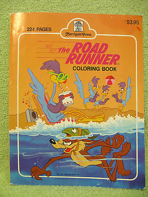 ROAD RUNNER Vtg Coloring Book WILE E COYOTE Looney Tunes Warner Bros USED ADULT