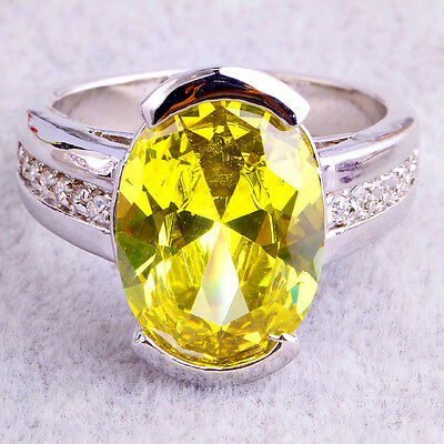 Anniversary Gift Jewelry Women Oval Cut Green Amethyst Silver Ring US Size 10