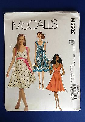 McCALL'S M5582 Paper Sewing Pattern For Summer Dresses Size 14-20 - New