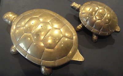Two Vintage Brass Turtles / Tortoises with lift up shells. Trinket boxes