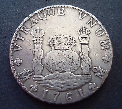 1761 Mexico 8 Reales Pillar  Silver Coin