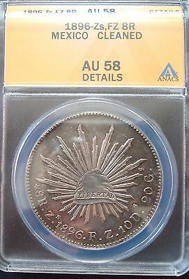 1896-Zs-FZ 8 Reales Silver mexican Coin ANACS AU 56
