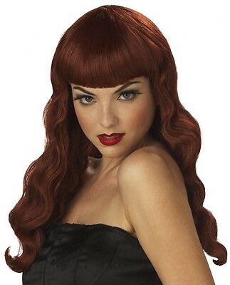 Pin Up Girl Auburn Red Vintage 50s 40s Women Costume Wig