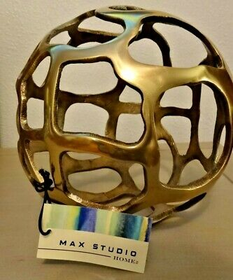 Large Brass Finish Cutout Decorative Ball Home Decor by Max Studio Homes