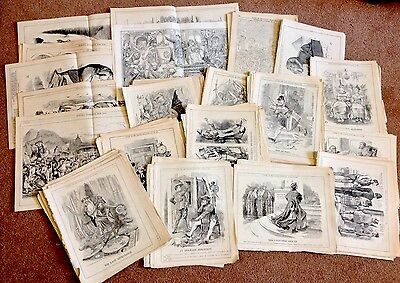 Job Lot Of Punch Cartoons- Double Page & Single Page Only 1880'S- 1900'S