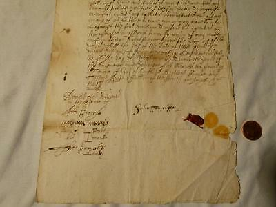 Antique 1668 / 1688 John Tonycliffe Yeoman of Stafford Signed Document #Y101