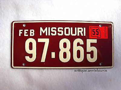 1955 MISSOURI Wheaties Cereal License Plate # 97-865