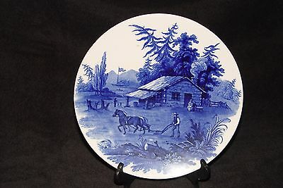 Estate Vintage Cauldon England Country Americana  Flow Blue Hanging Wall Plate