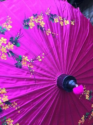 vintage, chinese silk parasol, hand painted
