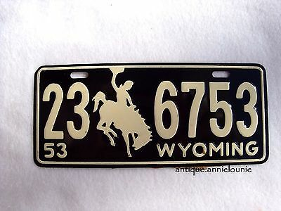 1953 WYOMING Wheaties Cereal License Plate # 23 6753