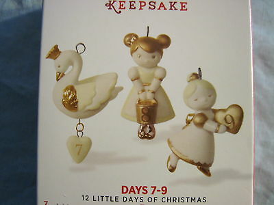 2016 Hallmark 12 LITTLE DAYS OF CHRISTMAS 7-9 Ornaments PORCELAIN Gold & White