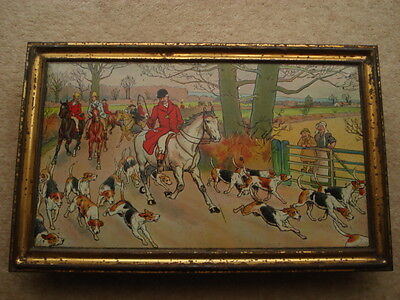 C1902 Huntley&palmers 'huntsmen' By Cecil Aldin Picture Frame Type Biscuit Tin