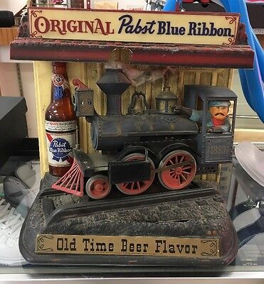 Vintage Pabst Blue Ribbon Motion Rocking Train Beer Sign Advertising Old Rare