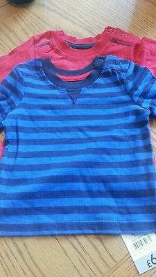 Baby Boys 2Pc Set Navy And Red Teeshirts  Age 0/3 Months From George