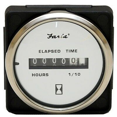 Misty Harbor Faria MH0059B Silver / White Boat Hour Meter Gauge