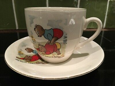 """""""my Turn Next"""" Cup And Saucer By Cartwright And Edwards"""