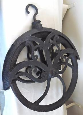 Large Antique Ornate Scrolls Cast Iron Farm Hay Barn Well Wheel Rope Pulley