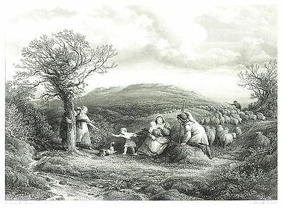 The Mountain Shepherds - Engraving by C. Cousens after John Linnell  - c1850