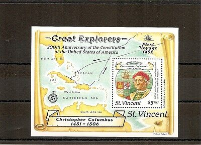 St Vincent 1988 SG1131ms NHM Columbus 500th/200th Anniv of US Constitution