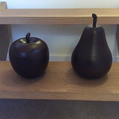Wooden apple and pear ornaments canister