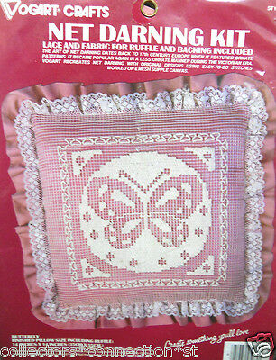 Net  Darning Lace Kit BUTTERFLY PILLOW w/Ruffle MIP Sealed Vintage 1970's