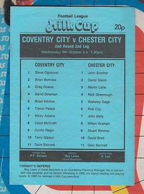 Coventry City  v Chester Milk Cup Match Programme 1985