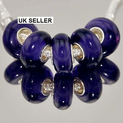 5pcs Silver Murano Glass Lampwork Beads Fit European Charm Bracelet 302